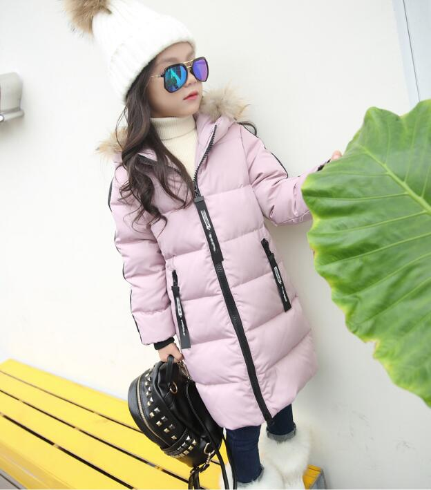 2018 Faux Fur Hood Jacket for Girls Children Snow Wear Parka Thick Cotton-Padded Winter Jacket for Children Christma Winter Coat furry hood drawstring pockets zip up padded coat