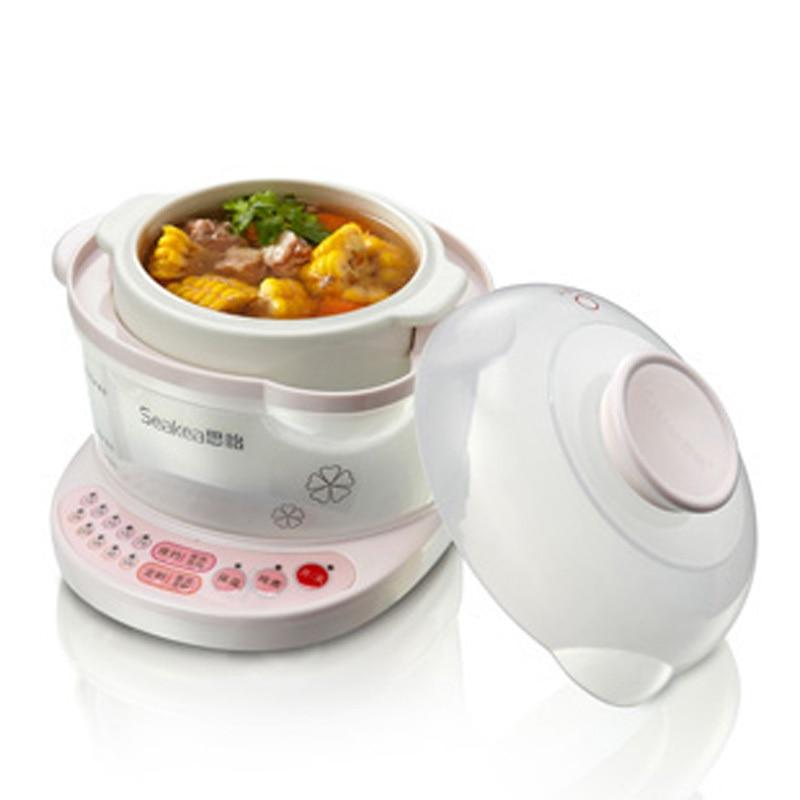 Электрическая мультяшная чашка электрическая медленноварка горшок миниатюрный густой суп горшок Автоматическая керамика с функцией синхронизации белый - Цвет: white