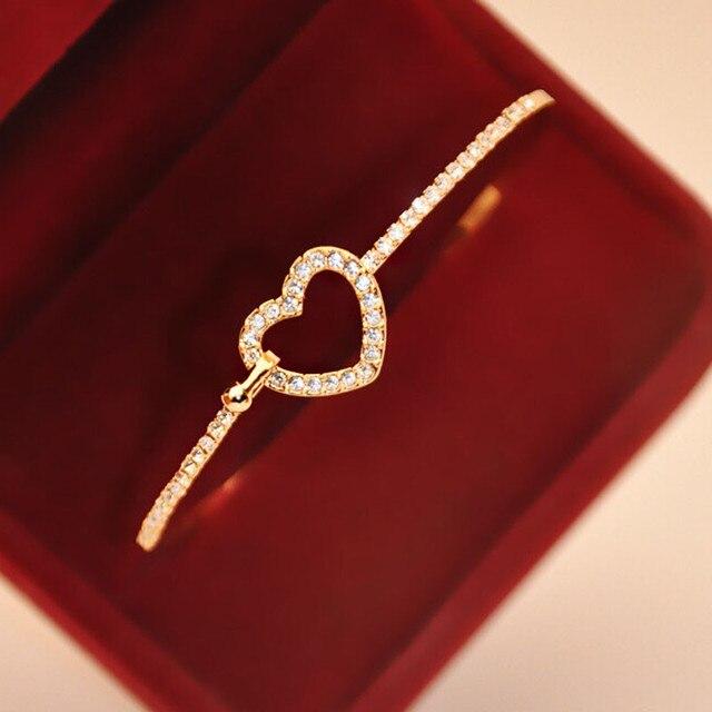 Fashion Style Gold Rhinestone Love Heart Bangle Cuff Bracelet Jewelry Bracelets Pour Femmes Pulseiras Para Mulheres JoalheriaA1