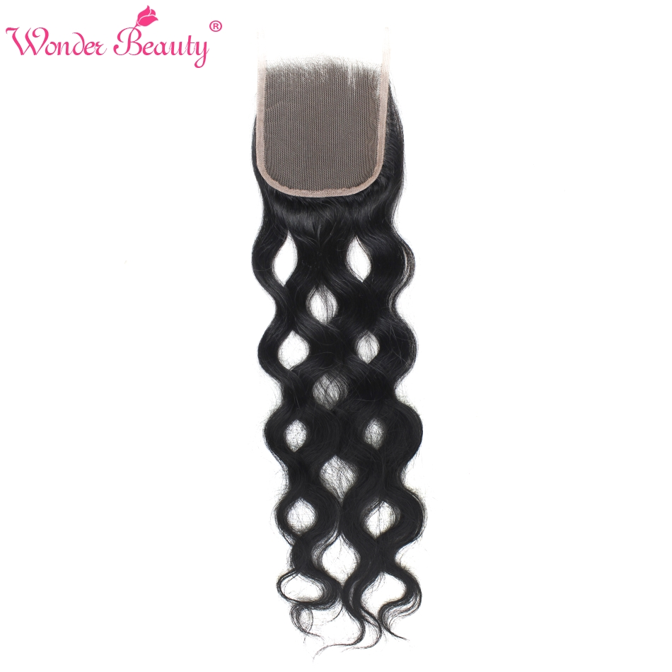 Wonder Beauty Brazilian Hair Natural Wave Human Hair Lace Closure Non Remy Free/Three/Middle Part 4x4 Lace Closures free ship