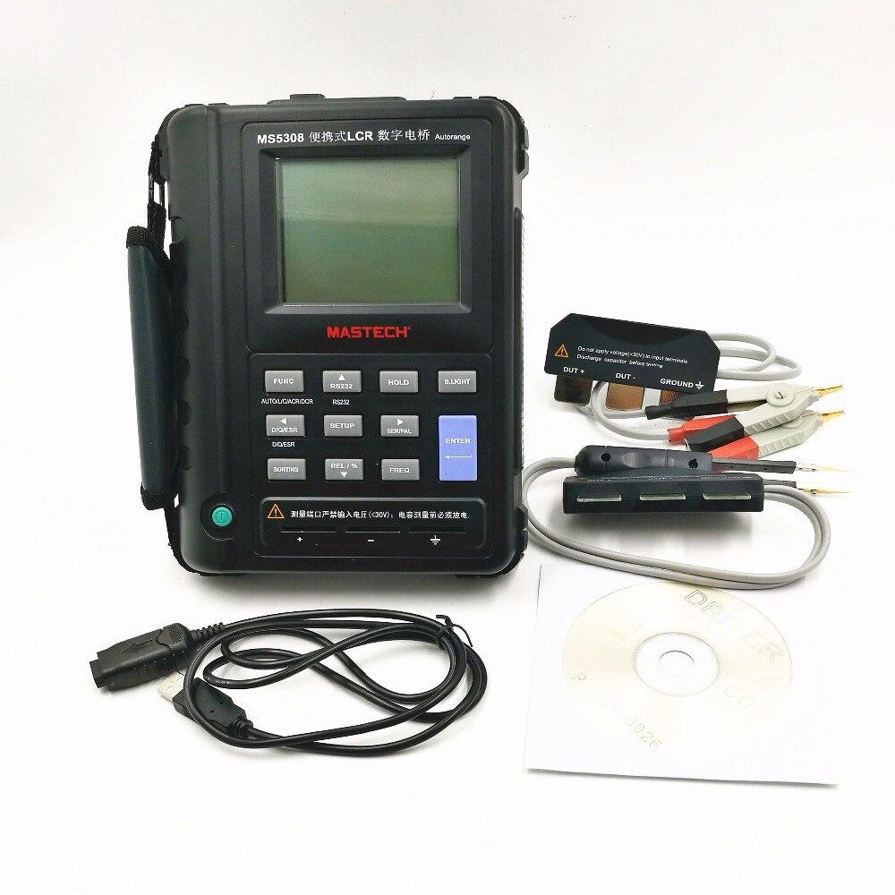 Mastech MS5308 LCR метр Портативный Авто Диапазон LCR метр Высокая производительность 100 кГц
