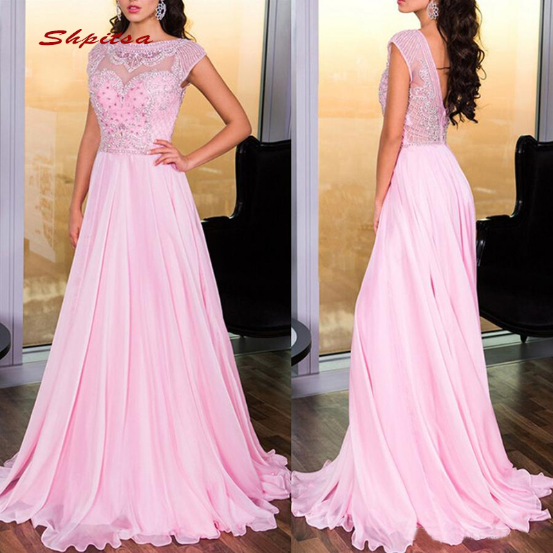 Pink Long   Evening     Dresses   Party Chiffon Crystals A Line Luxury Ladies Women Formal   Dresses     Evening   Gown