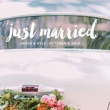 Apenas casado adesivos de parede nomes personalizados decalque da parede moda janela do carro decoração apenas casado casamento murais de parede vinil ay1410