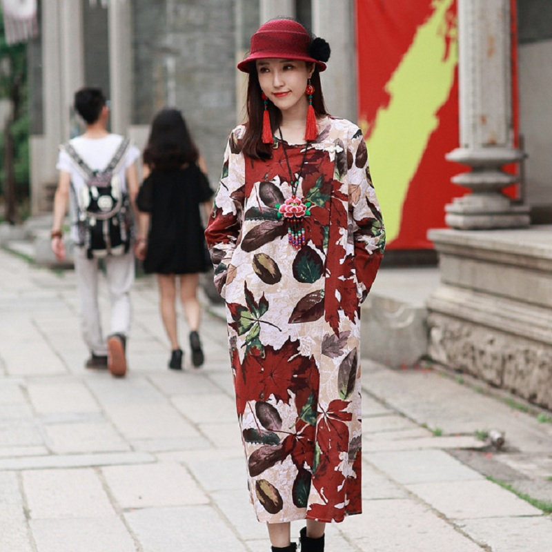 New spring and autumn womens dresses cotton/linen maple leaf print dress maternity dresses pregnancy autumn clothing 16898