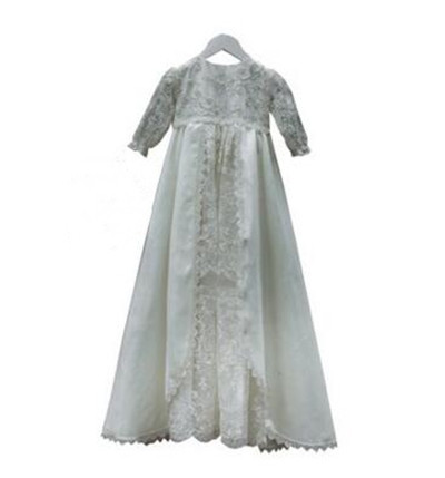 2016 Baby Infant Baptism Gown Baby Girl Christening Dress White/Ivory Lace Applique Robe 0-24month lolita baby infant christening dress baptism gown ivory white lace applique baby girl party dress 0 3 6 9 12 15 18 24month