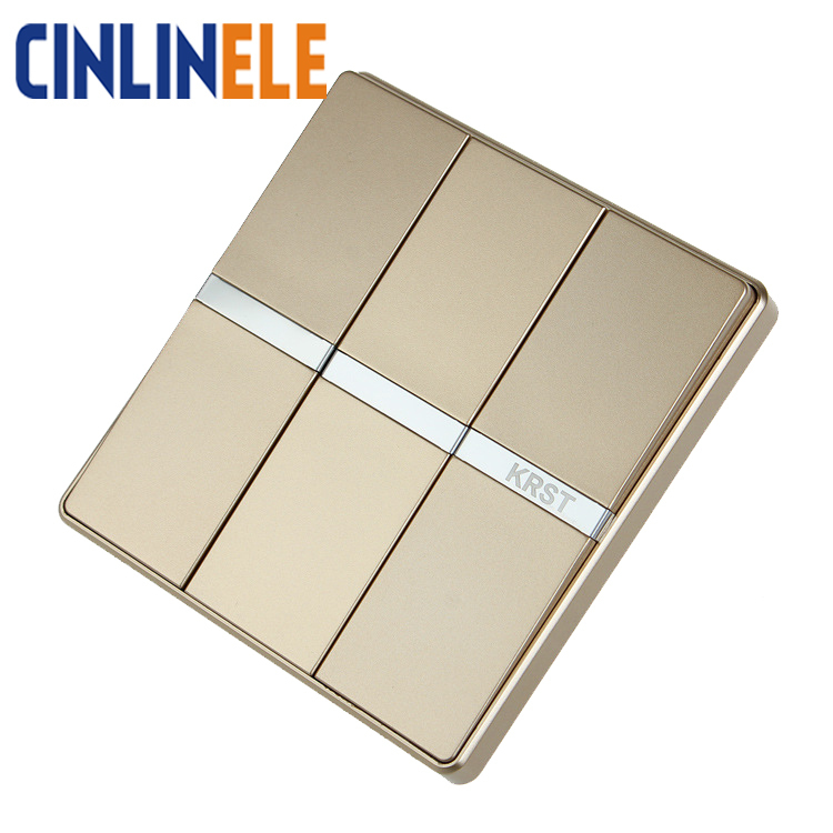 Luxury Wall Switch 3 Gang 1 Way Ivory GOLD Brief Art Weave Light Switch AC 110~250V  10A No border design 86mm * 86mm luxury champagne gold wall switch round button switch 3 gang double control light switch simple and fashion 86mm 86mm