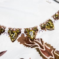 Vestido mini corte recto suelto estampado vintage verano apliques 3
