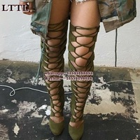 Women Lace Up suede Thigh High Boots Pointed Toe Gladiator Over Knee Boots Cut Outs Designer Strappy Bottes Femmes Women Shoes
