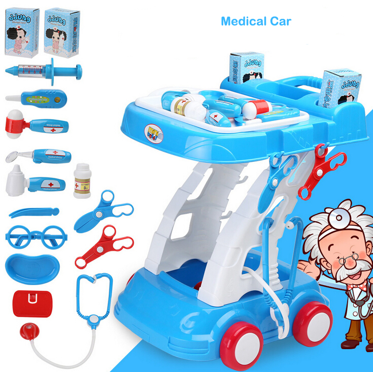 Kid Pretend Play Toy ABS Plastic Health Makeup Medical Car Kit With Sound and light Hair Dryer Stethoscope Funny For Boy Girl dinosaur transformation plastic robot car action figure fighting vehicle with sound and led light toy model gifts for boy