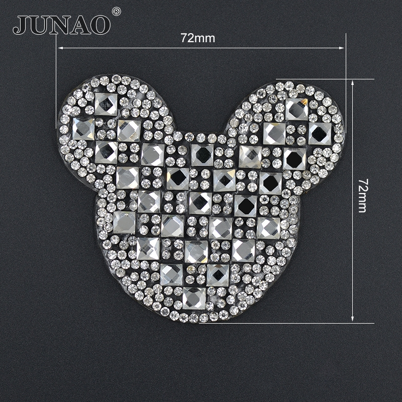 JUNAO 5pcs Clear Mickey Design Iron On Rhinestones Patches Hotfix Strass Motifs  Crystal Applique For Jeans f89604e0975d