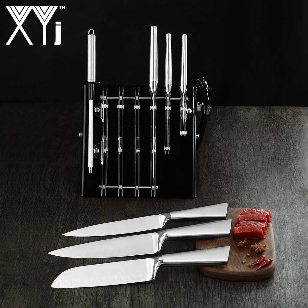 XYj حامل سكاكين المطبخ كتلة ل الفولاذ المقاوم للصدأ سكين سكين من السيراميك الاكريليك المطبخ Knive حامل المهنية السكاكين مجموعة كتلة