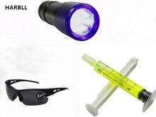 HARBLL 1PCS UV font b flashlight b font 1PCS R134a R12 Car Fluorescent oil 1PCS Leak