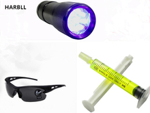 HARBLL 1PCS UV flashlight,1PCS R134a R12 Car Fluorescent oil,1PCS Leak glasses Automotive Air Conditioning Repair Tool