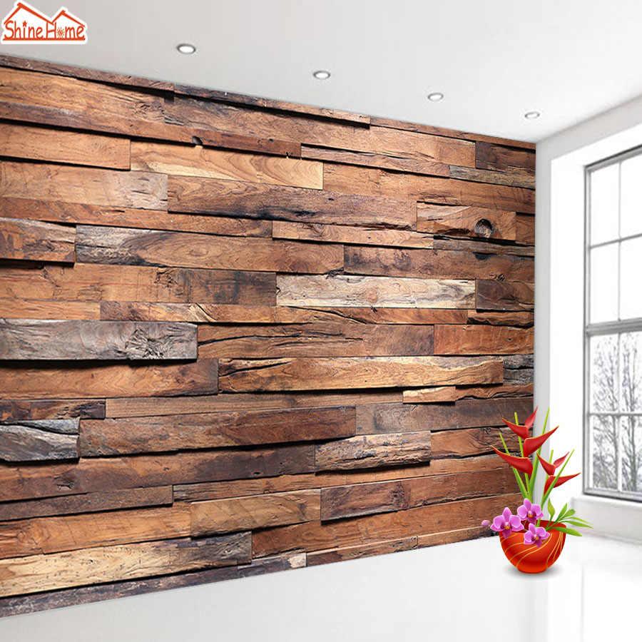 ShineHome-фото обои 3d обои для гостиной обои домашний декор искусство деревянный узор спальня ТВ бар обои в рулоне