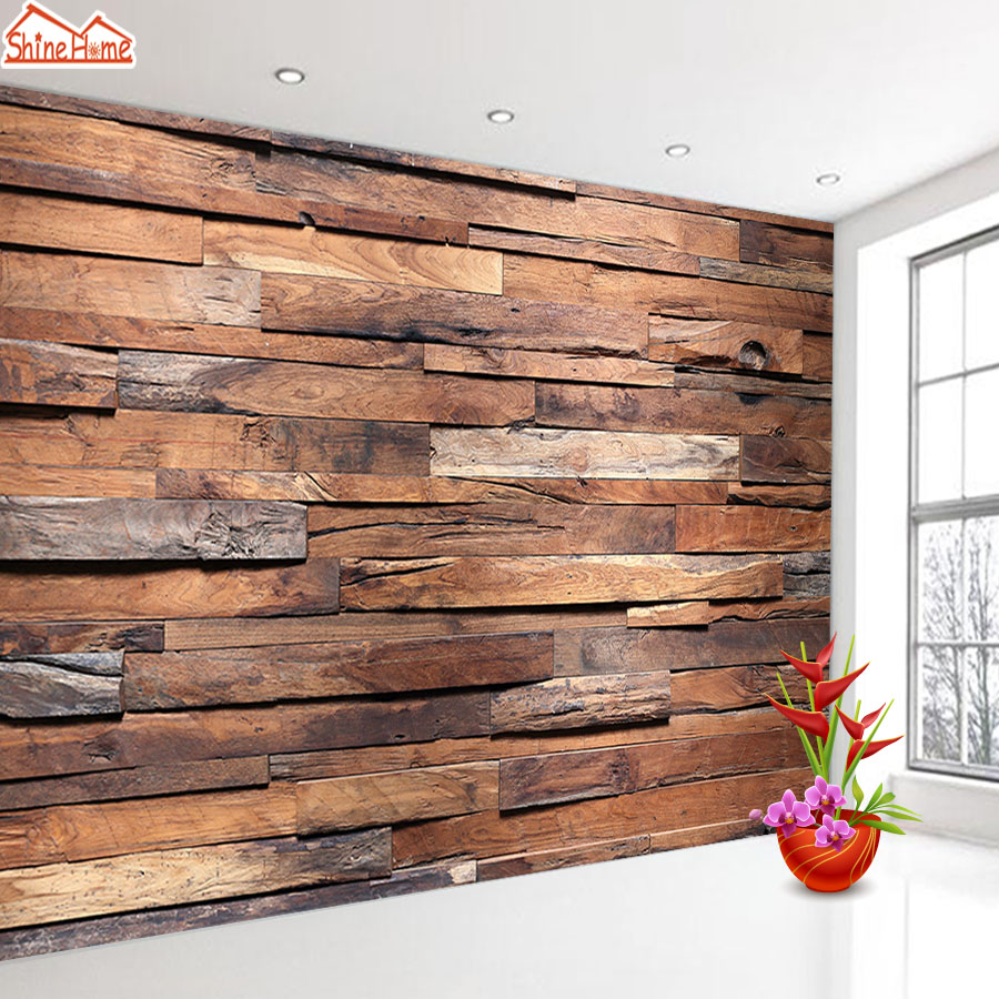 ShineHome-Photo Wallpaper 3d Mural Wallpapers for Living Room Wall Papers Home Deor Art Wood Pattern Bedroom TV Bar Murals Rolls