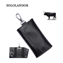 цена на Genuine Leather Keychain Men Women Cow Leather Key Bag Holder  Organizer Pouch Soft Cow Split Car Key Bag Wallet Mini Card Bag