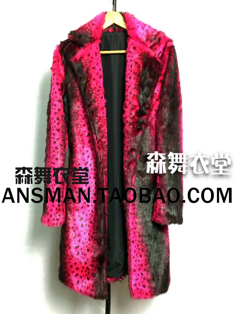 Nightclub Singer Male Female Fluorescent Pink Leopard Long Fur Coat Party Show Stage Performance Outwear