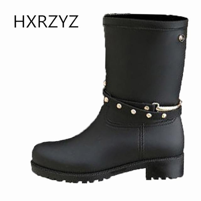 541bfa62645 HXRZYZ mulheres botas de chuva feminina botas de borracha de borracha preta  primavera   outono novo