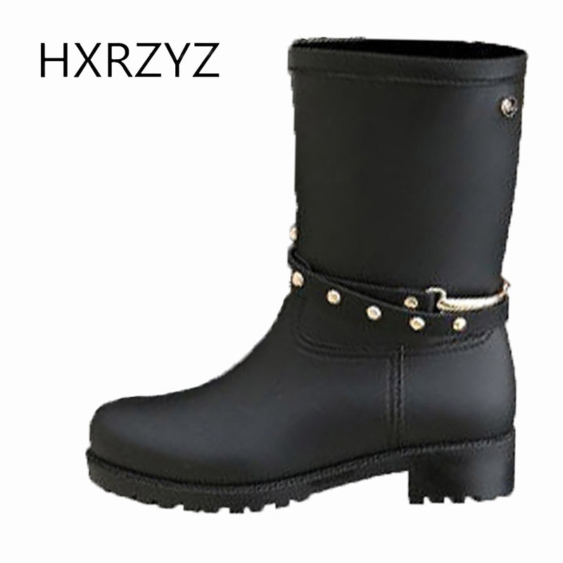 HXRZYZ women rain boots female black rubber ankle boots spring/autumn new fashion design Slip-Resistant waterproof women shoes new spring autumn rain boot woman ankle boots sexy women rain boots