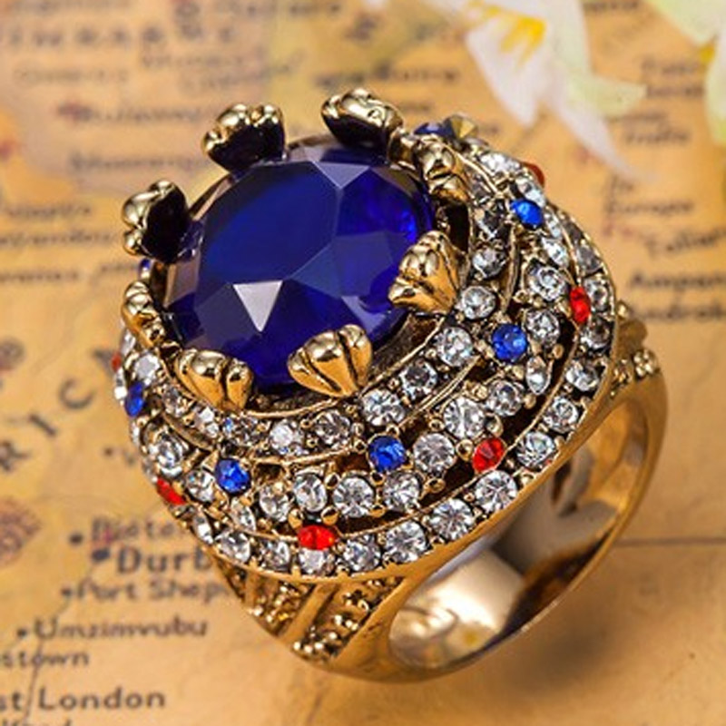 Blucome Blue Rhinestone Rings For Women Turkey Turkey Jewelry Women Vintage Aneis Mujer Fashion African Costume Jewel Anel