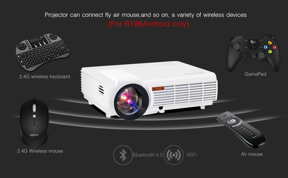 2017 Cheap Android OS wifi 1280×800 smart game BT96 bluetooth Video HDMI USB Full HD 1080P Home Theater LED Projector Proyector