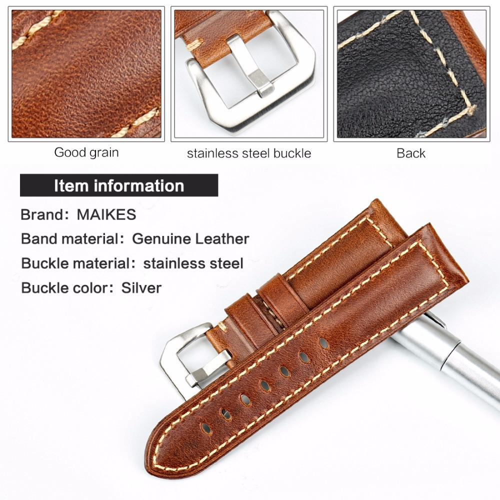 MAIKES High Quality Watchband Brown Vintage Oil Wax Leather Strap Watch Band 20mm 22mm 24mm 26mm Watch Accessories For Panerai in Watchbands from Watches