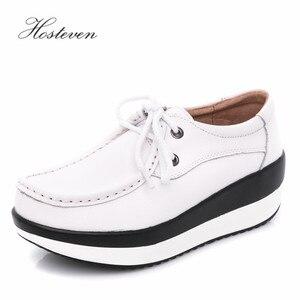 Image 4 - Hosteven נשים נעלי בלט נעל פרה זמש עור שטוח פלטפורמת אישה נעלי נשי נשים של נעלי מוקסינים נעל