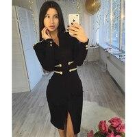 New Fashion Show Style Collection Black Bandage Long Sleeve Elegant Midi Dress Front Split Wit V Neck Bodycon Hourglass Dresses