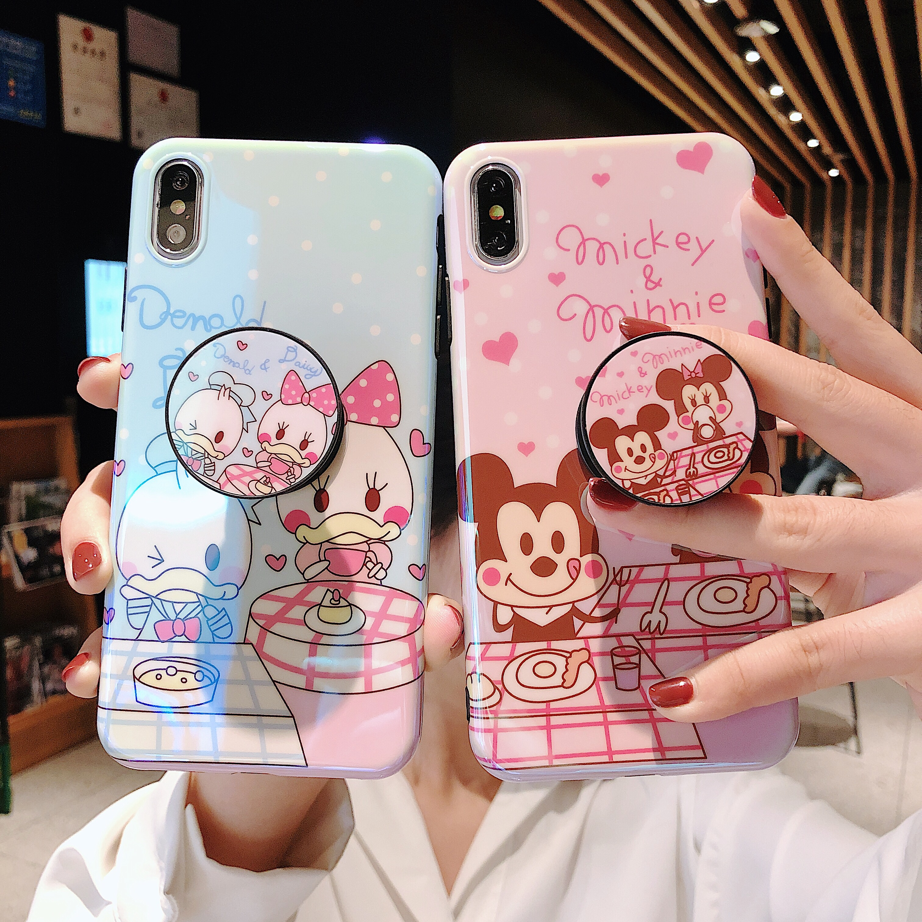 Loverly Cute Cartoon Mouse Duck Case For <font><b>iPhone</b></font> X 8 7 <font><b>6</b></font> 6s plus 10 11 Pro XS Max XR Grip Holder i8P Phone Cases Back Cover <font><b>Coque</b></font> image