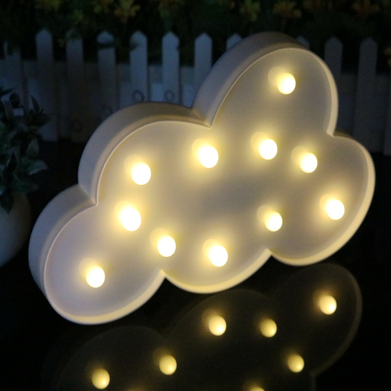 Kingoffer New Romantic Heart Star Cloud Lamps 3D LED Night Light Battery Operate Home Indoor Bedroom Decoration Kids Gifts