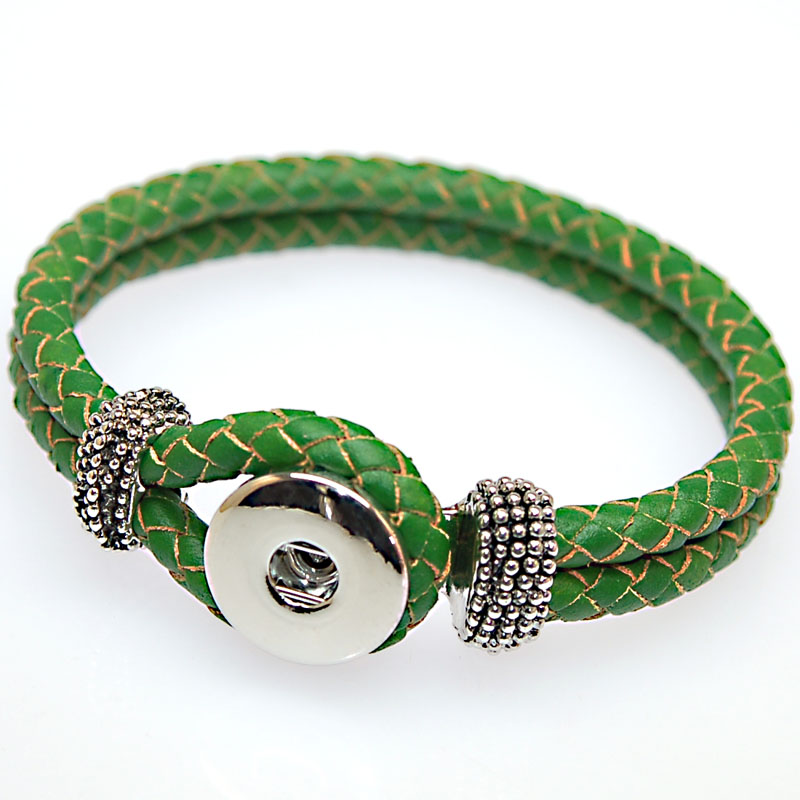 Leather Wrap Charm Bracelet: Wholesale Braided Genuine Leather Wrap Charm Bracelet Fits