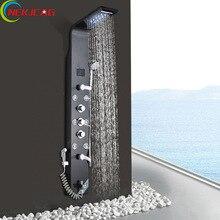 Luces de Ambiente LED Ducha Panel de Pintura Negro de Acero Inoxidable 6 Estilo Torre Columna de Ducha con Bidé Agua de Salida