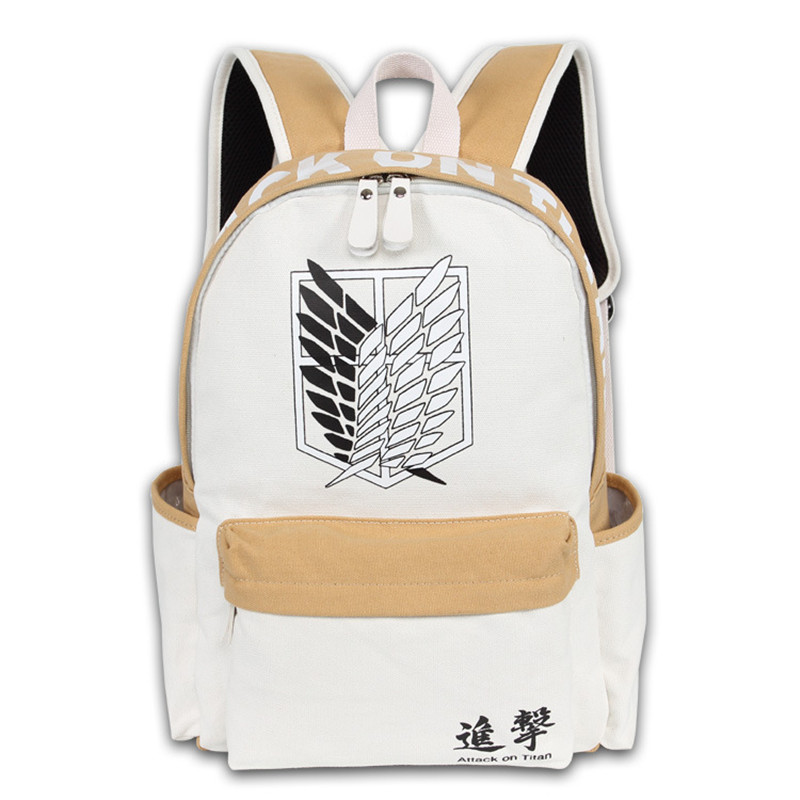 New Men Women Boy Girls Japan Anime Attack on Titan Book Bag White Brown Color Mixed Backpack Mochila Student Travel