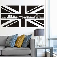 Britain UK Scotland Flag Map Wall Stickers England Landmark Buildings Silhouette Removable Mural Diy Wallpaper Room Office Decal