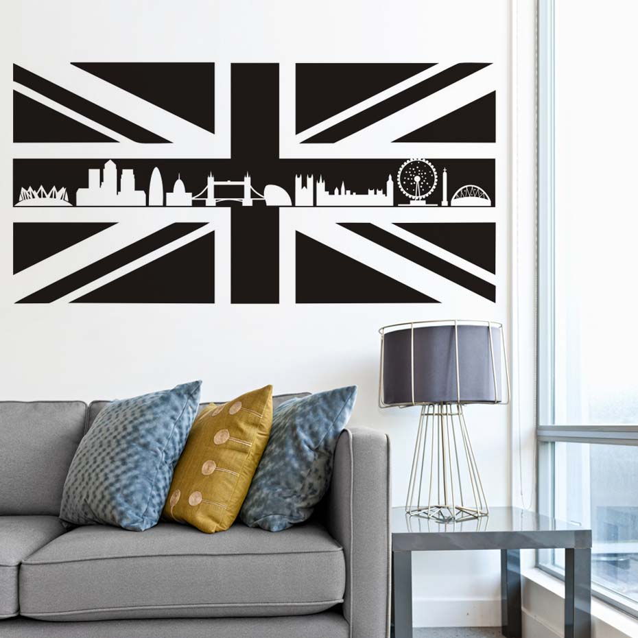 wall murals uk promotion shop for promotional wall murals uk on britain uk scotland flag map wall stickers england landmark buildings silhouette removable mural diy wallpaper room office decal