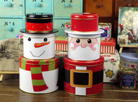 Three Layers Santa Claus Snowman Iron Cylinder Case Tin Storage Box Tea Canister Candy Box Size