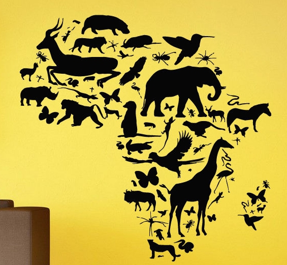 African Animal Map Wall Decal Africa Map Continent Animal Wall Art Sticker Wild Animals PVC Kids Bedroom Wall Sticker Home Decor