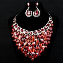 Venta caliente Red Crystal Rhinestone Joyería Nupcial Conjunto Para Las Novias de La Boda Grande de Joyería Pendientes Del Collar de Regalo De Navidad de Regalo