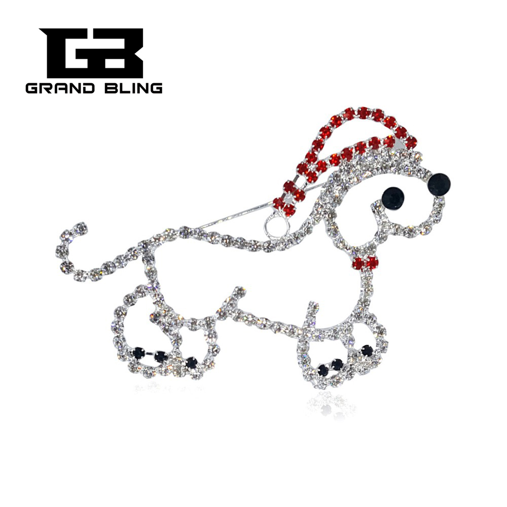 1 pc sell Luxury Rhinestone Dog Large Brooch Christmas Pins Kids Gift Unique