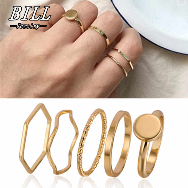 R064 5pcs Tiny Ring Sets Midi Finger Rings Women conjuntos de anillo Beach Jewelry Simple Anel Bohemian Style NEW Arrival 2018