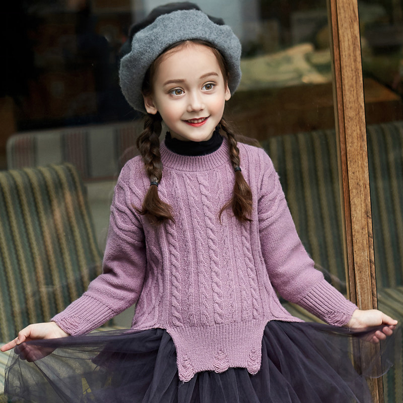 2017 Baby Girls Sweater Trendy Sassy Broken Design Lavender Mustard Brown Color Kids Cute Clothes for Age6789 10 11 12 Years Old