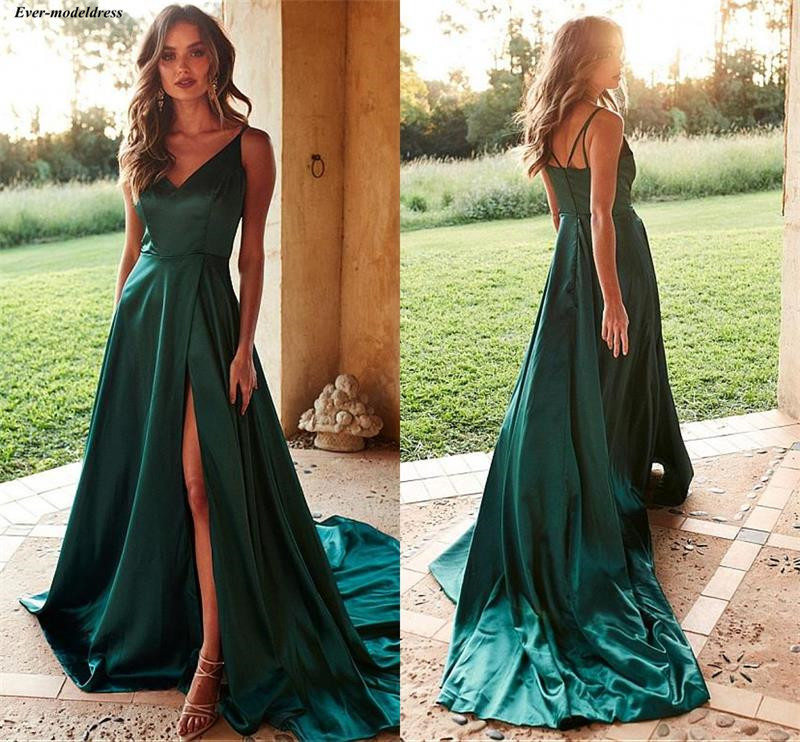 Simple Dark Green V-Neck   Prom     Dresses   Arabic Sleeveless A-Line Special Occasion Gowns With Side Slit 2019 vestido de graduacion