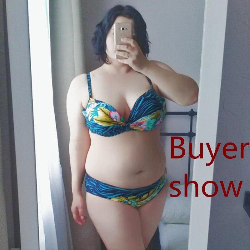 Elanrry 2017 Plus Size Басып шығару Bikini Set - Спорттық киім мен керек-жарақтар - фото 6