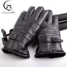 Mens Winter Gloves Leather Glove Trendy Sheepskin Gentmen Luvas Guantes Mujer New 2016 Thicken Real