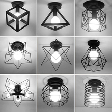 Vintage Birdcage E27 Ceiling Lights Retro Iron Black Ceiling Lamp Kitchen Fixtures Luminaria Lamparas De Techo Home Lighting clear glass loft style led ceiling lights rh iron industrial vintage ceiling lamp fixtures home lighting bar lamparas de techo