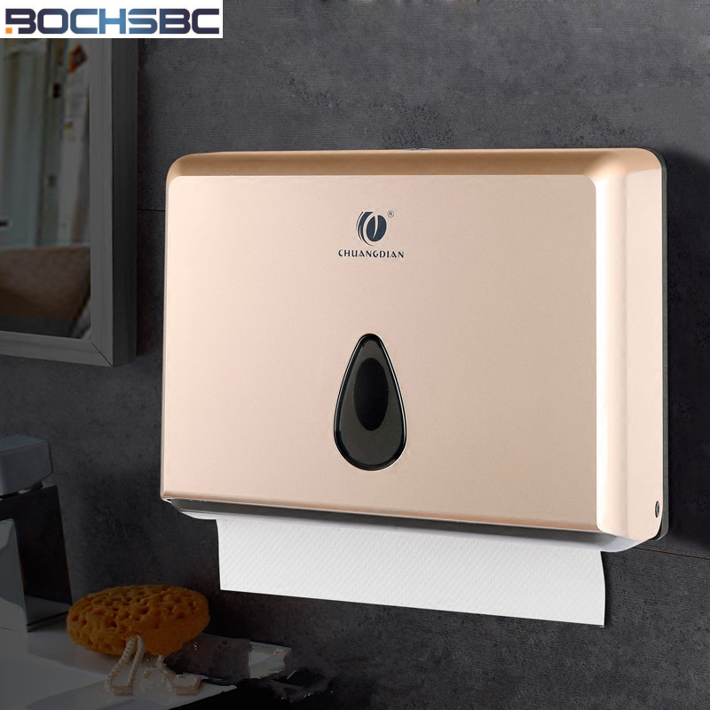 BOCHSBC White Silver Gold Tissue Box Waterproof ABS Bathroom Tissue Box Non-drilling Kitchen Draw Paper Holder Box Wall Mount