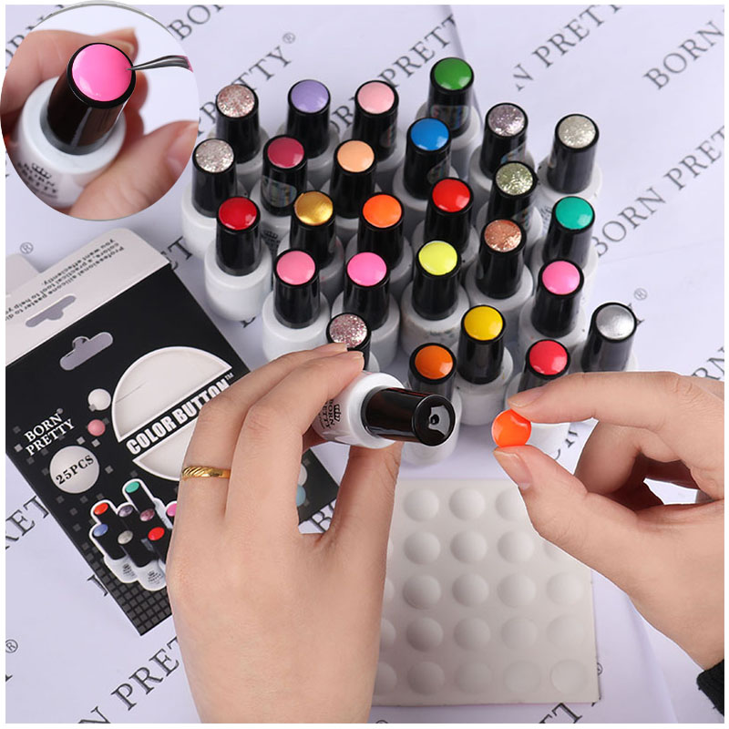 BORN PRETTY 10Pcs 25Pcs Nail Color Button UV Gel Polish Color Display Label White Silicone Adhesive Paster Nail Art Tool