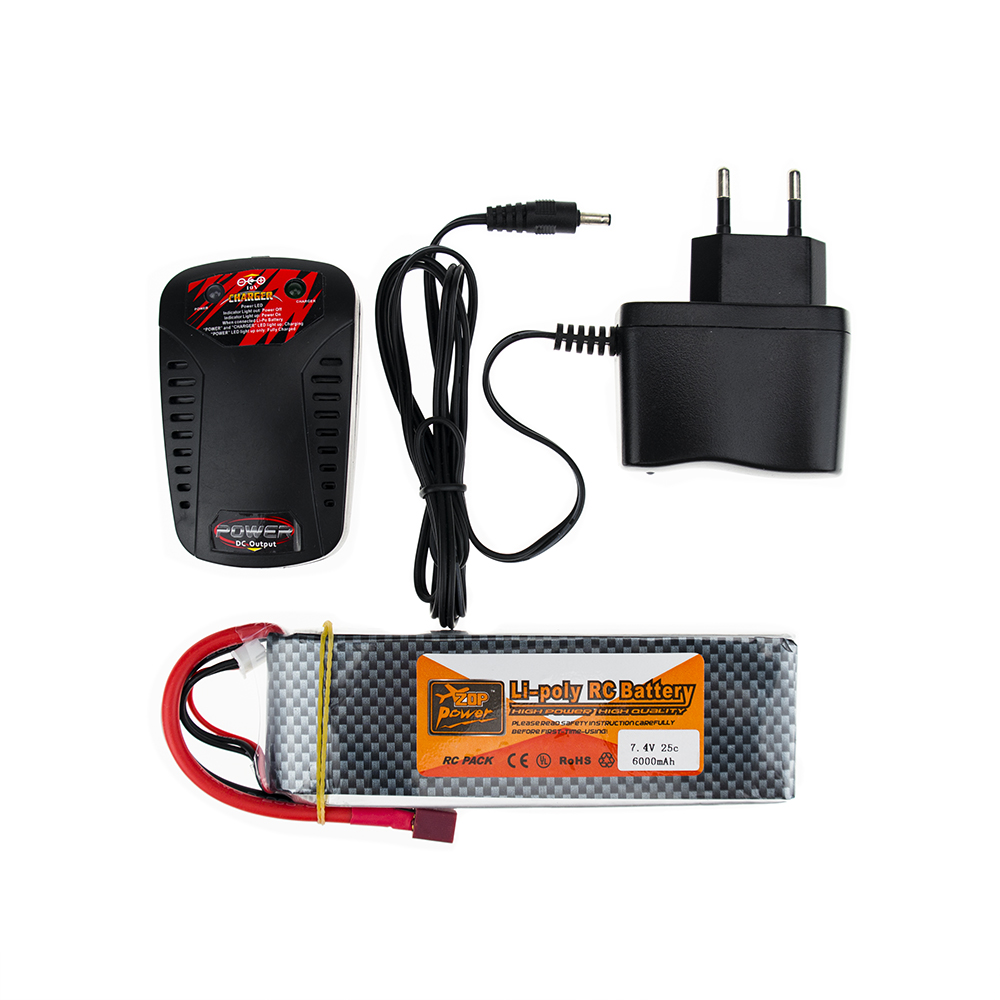 ZOP <font><b>Lipo</b></font> Battery 7.4V <font><b>6000MAH</b></font> 25C <font><b>2S</b></font> T XT60 With Smart Charger Set For RC Drone Models Helicopters Airplanes Cars Boat Batteria image