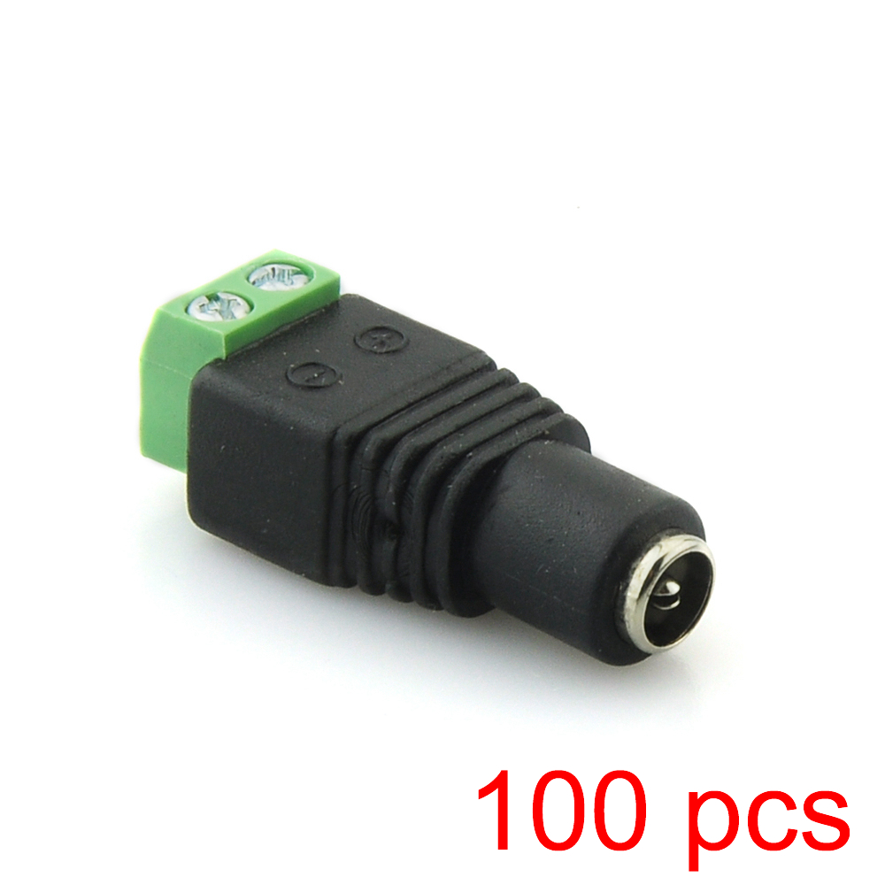 100x DC Female 2.1x5.5mm Power Jack Adapter Plug Cable Connector For CCTV Camera