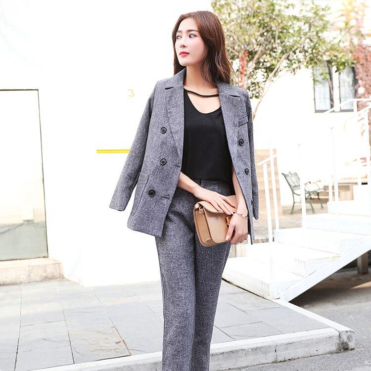 2018 Ensemble Vente Gray Tops Blazer 2 Solide Femmes Pièces Vesteamp; automne Chaude Double Deux S83409f Pantalon Style Printemps Bouton Ol Mode 0ONnvm8w